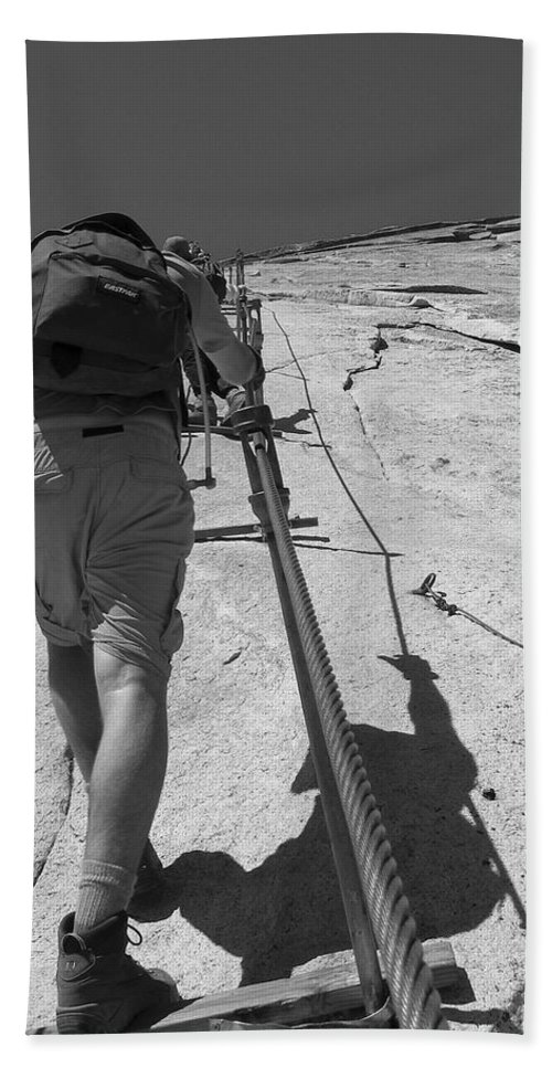 Half Dome Hand Towel featuring the photograph Half Dome Cables by Travis Day