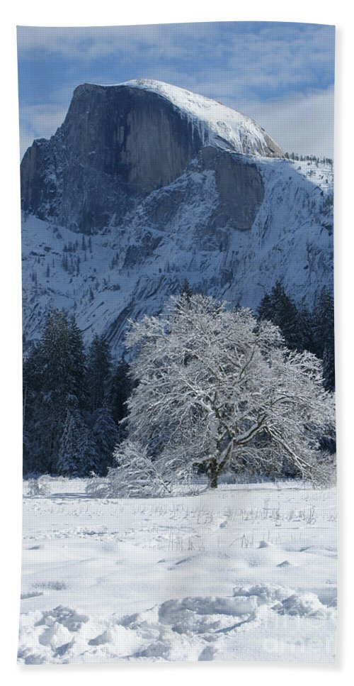 Half Dome Hand Towel featuring the photograph Half Dome In Winter by Christine Jepsen