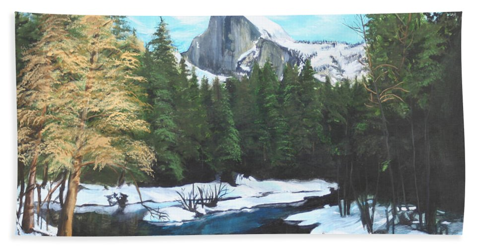 Lkandscape Bath Sheet featuring the painting Half Dome Snow by Travis Day