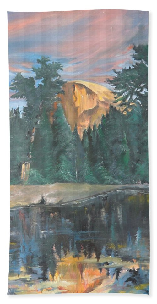 Sunset Bath Sheet featuring the painting Half Dome Sunset by Travis Day