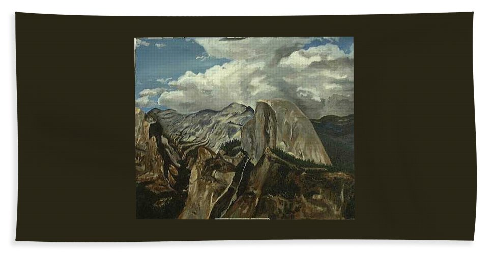 Hand Towel featuring the painting Half Dome by Travis Day