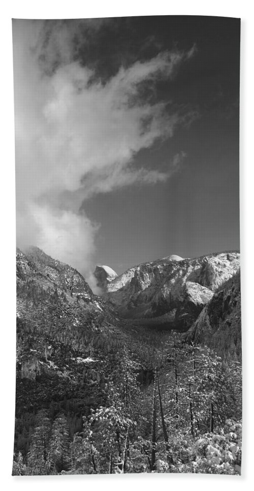 Half Dome Hand Towel featuring the photograph Half Dome Winter by Travis Day