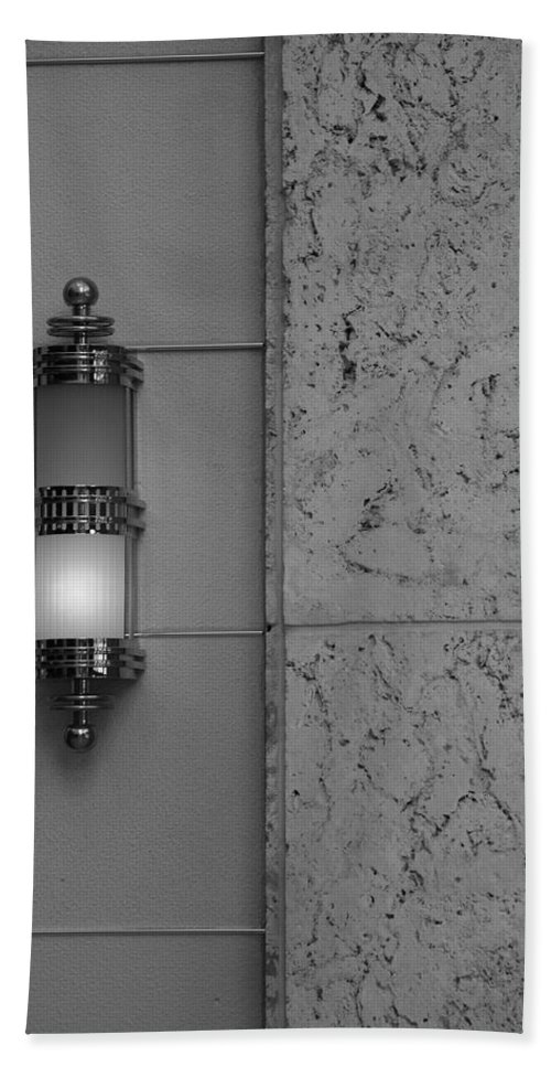 Sconce Bath Sheet featuring the photograph Half Lit Wall Sconce by Rob Hans