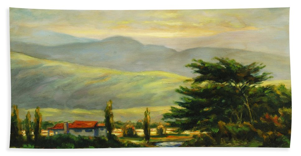 Trees Bath Towel featuring the painting Half Moon Bay by Rick Nederlof