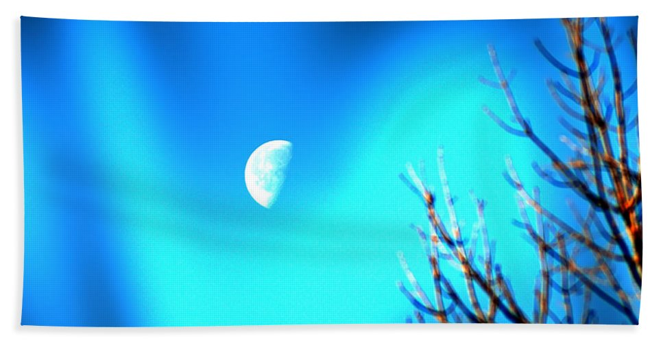 Moon Hand Towel featuring the photograph Half Moon by Bill Cannon