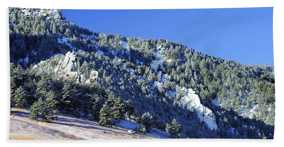 Nature Bath Sheet featuring the photograph Half Moon Over The Flatirons by Marilyn Hunt