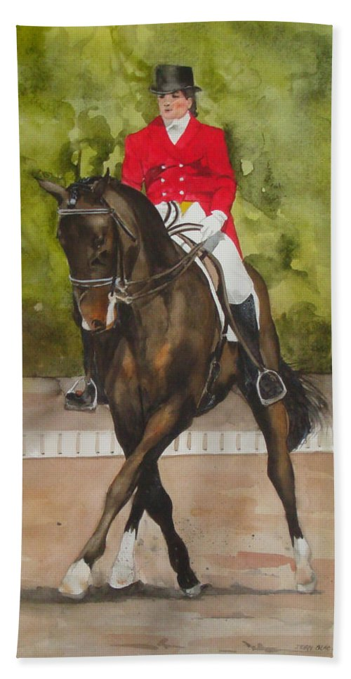 Horse Hand Towel featuring the painting Half-pass To The Right by Jean Blackmer