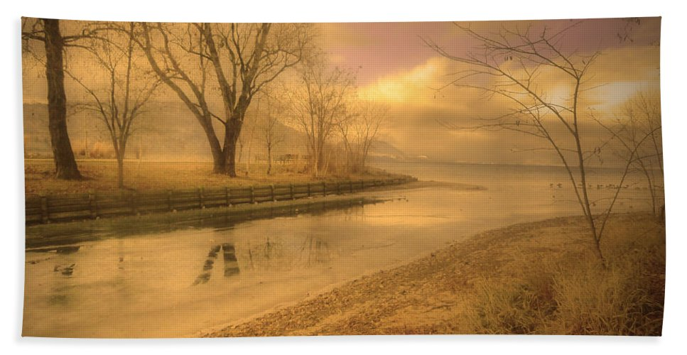 Lake Hand Towel featuring the photograph Half Reflections by Tara Turner