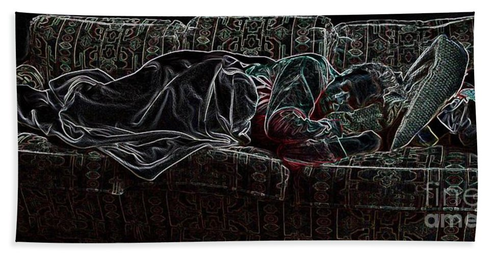 Sleeping Woman Bath Towel featuring the photograph Halfabaskan Sleeping by Ron Bissett