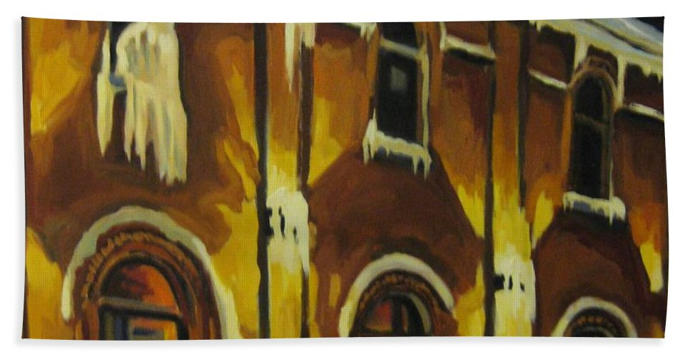 Urban Landscapes Bath Towel featuring the painting Halifax Ale House In Ice by John Malone