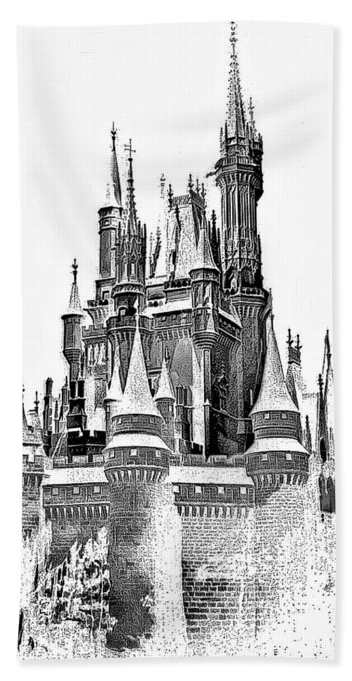 Castle Hand Towel featuring the photograph Hall Of The Snow King Monochrome by Steve Harrington