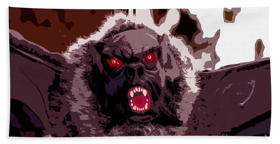Halloween Hand Towel featuring the digital art Halloween Bat by David Lee Thompson