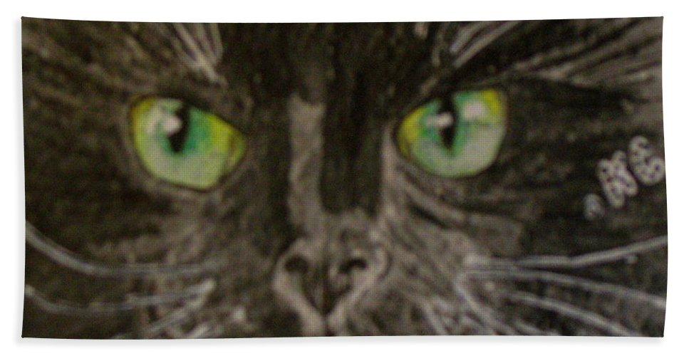 Halloween Hand Towel featuring the painting Halloween Black Cat I by Kathy Marrs Chandler