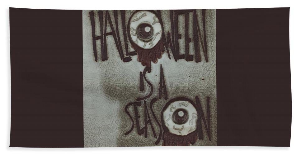 Hand Towel featuring the drawing Halloween. by Brittni Bailie