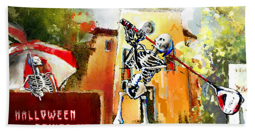Fun Hand Towel featuring the painting Halloween Drives Me Crazy by Miki De Goodaboom