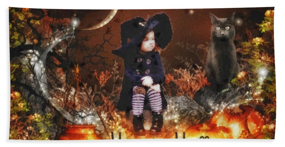 Halloween Girl Hand Towel featuring the mixed media Halloween Girl by Mo T