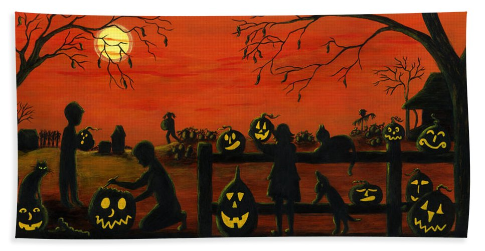 Halloween Hand Towel featuring the painting Halloween Harvest by Christine Altmann