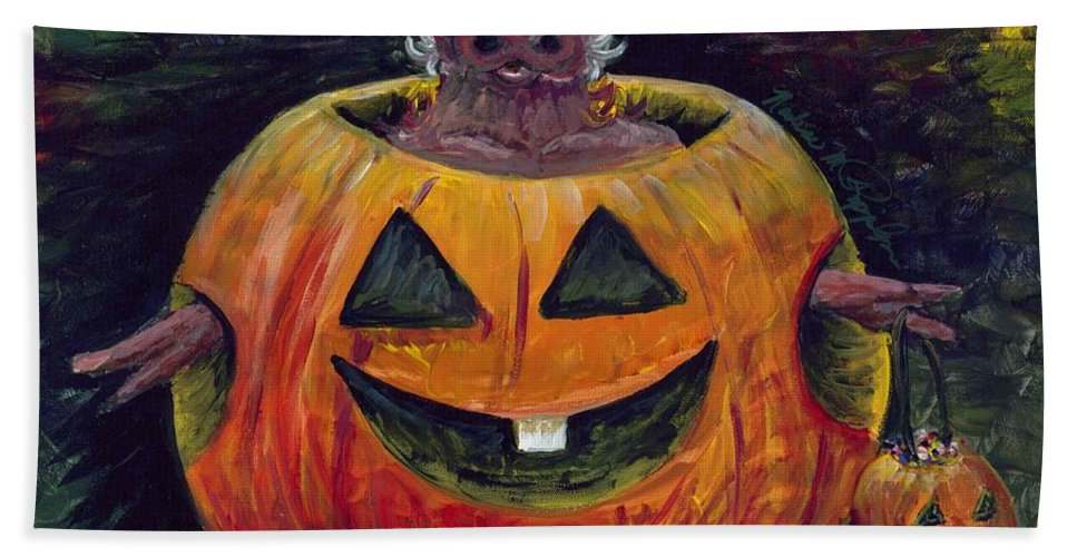 Halloween Bath Towel featuring the painting Halloween Hog by Nadine Rippelmeyer
