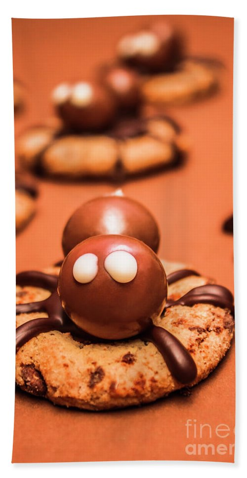 Spiders Bath Towel featuring the photograph Halloween Homemade Cookie Spiders by Jorgo Photography - Wall Art Gallery
