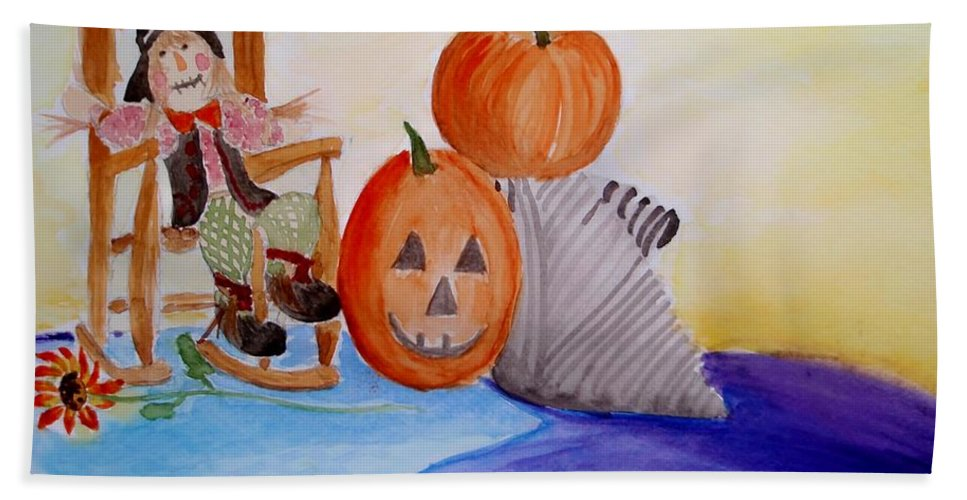Halloween Bath Sheet featuring the painting Halloween by Jamie Frier
