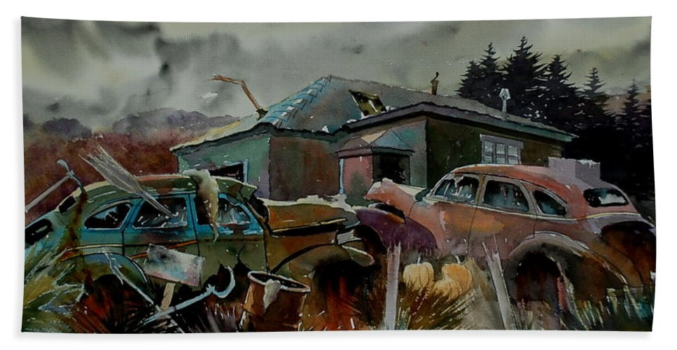 Cars Hand Towel featuring the painting Halloween On The Hill by Ron Morrison