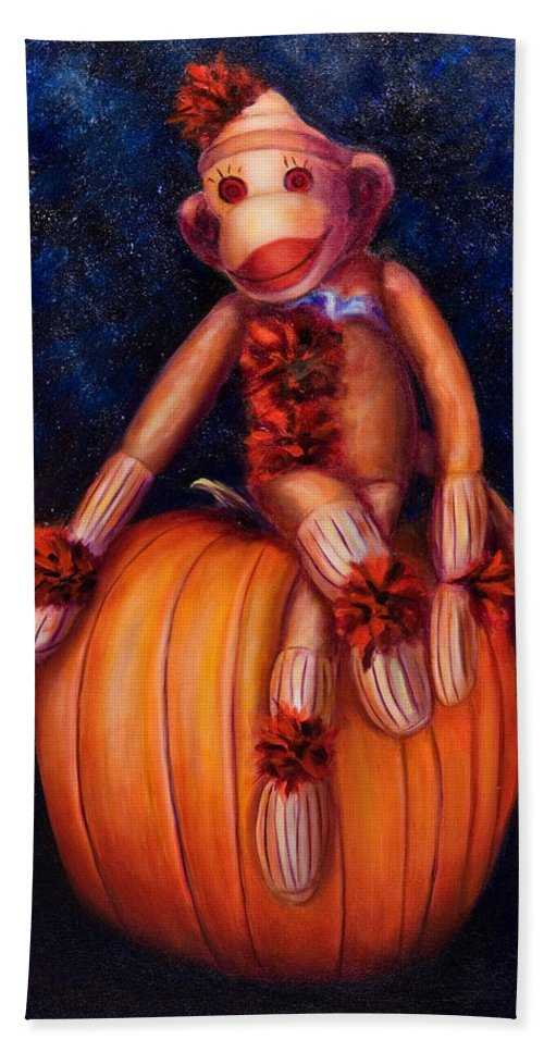 Pumpkin Bath Sheet featuring the painting Halloween by Shannon Grissom