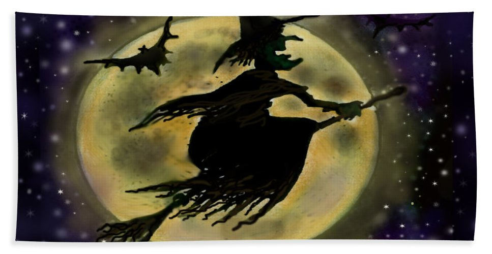 Halloween Bath Sheet featuring the digital art Halloween Witch by Kevin Middleton
