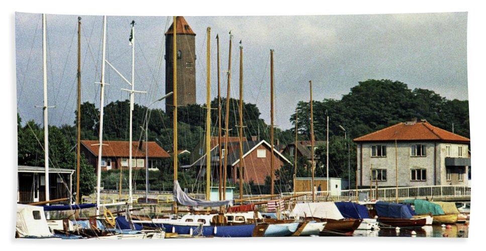 Sweden Bath Sheet featuring the photograph Halsingborg Marina 2 by Lee Santa
