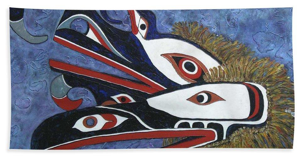 North West Native Bath Sheet featuring the painting Hamatsa Masks by Elaine Booth-Kallweit