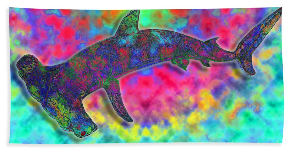Hammer Head Shark Hand Towel featuring the drawing Hammer Head 2 by Nick Gustafson