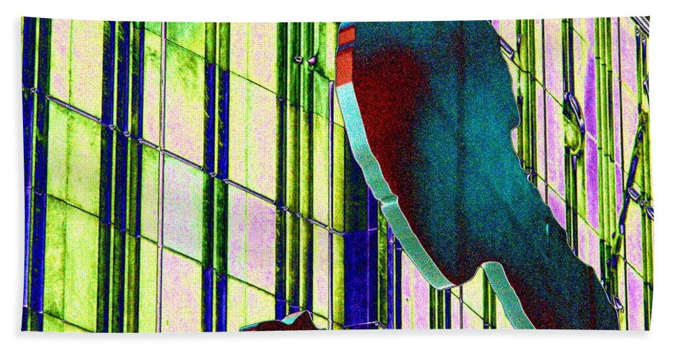 Seattle Hand Towel featuring the digital art Hammering Man 3 by Tim Allen