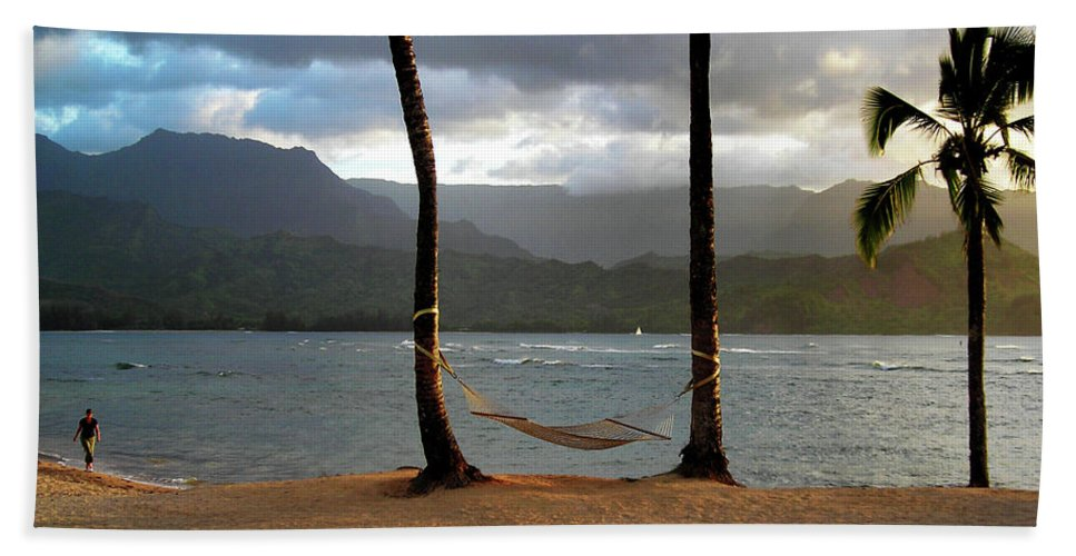 Hammock Bath Sheet featuring the photograph Hammock At Hanalei Bay by James Eddy