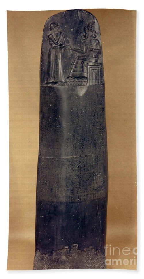 18th Century B.c. Hand Towel featuring the photograph Hammurabis Code by Granger