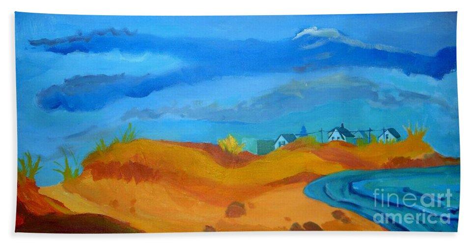 Ocean Hand Towel featuring the painting Hampton Dunes by Debra Bretton Robinson