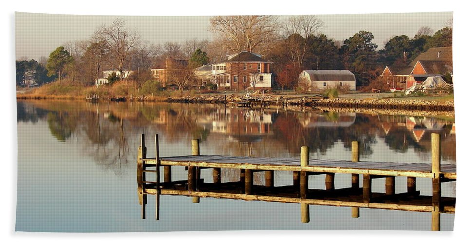 Hampton Bath Sheet featuring the photograph Hampton Virginia Sunrise by Brett Winn