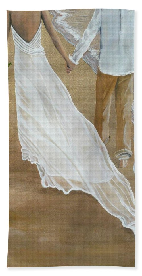 Bride And Groom Bath Sheet featuring the painting Hand In Hand by Kris Crollard