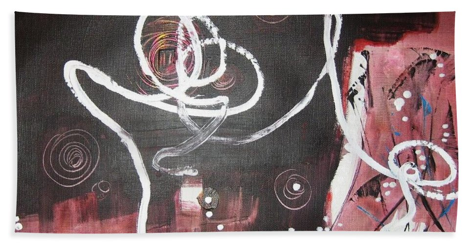 Abstract Paintings Bath Towel featuring the painting Hand In Hand2 by Seon-Jeong Kim