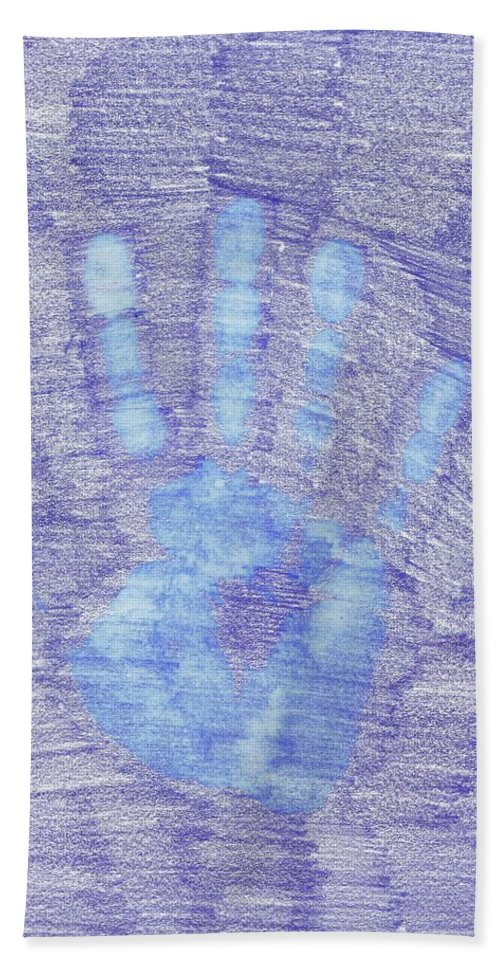 Abstract Hand Towel featuring the drawing Hand Off by Wayne Monninger