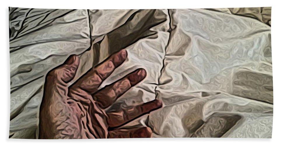 Hand Bath Sheet featuring the digital art Hand On Comforter by Ron Bissett