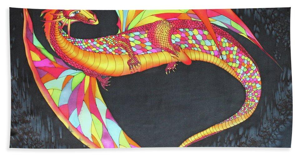 Silk Scarf Hand Towel featuring the mixed media Hand Painted Silk Scarf Dragon On Black by Svetlana Yakovleva