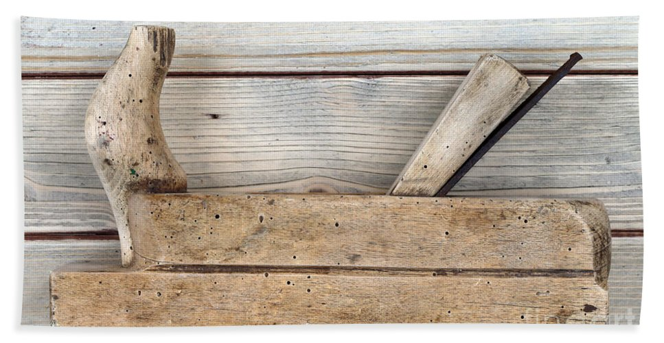 Plane Bath Sheet featuring the photograph Hand Tool - Old Wood Planer by Michal Boubin