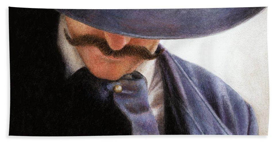 Cowboy Bath Sheet featuring the painting Handlebar by Pat Erickson