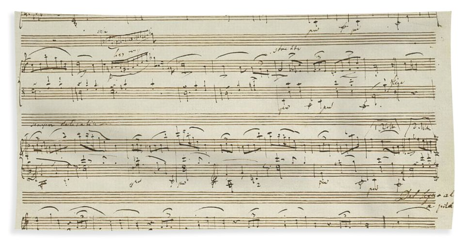 Chopin Hand Towel featuring the drawing Handwritten Score For Waltz In Flat Major by Frederic Chopin