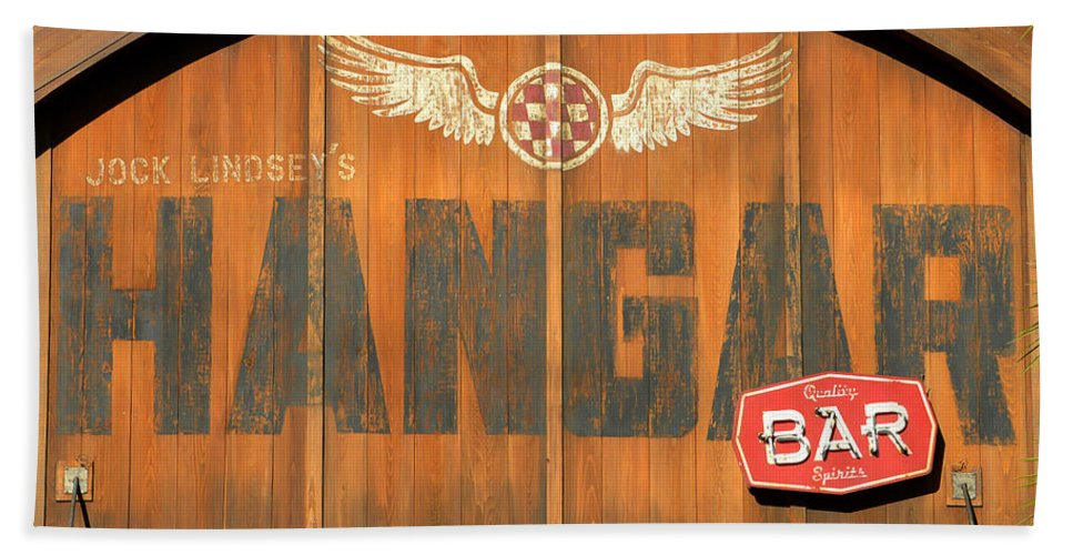 Hangar Bar Bath Sheet featuring the photograph Hangar Bar Entrance Sign by David Lee Thompson