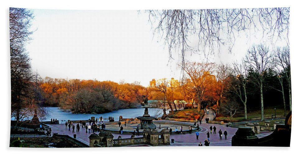 Monument Hand Towel featuring the photograph Hangin' At Bethesda Fountain by Kendall Eutemey