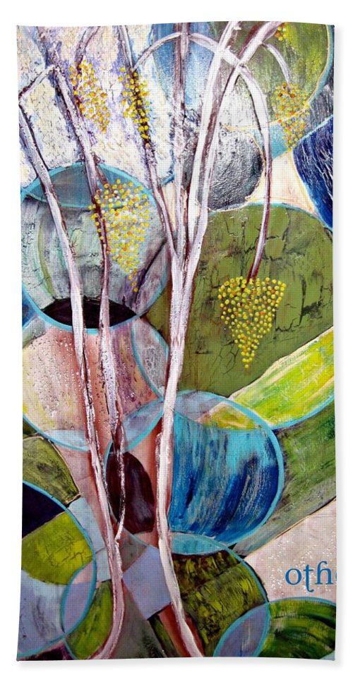 Abstract Bath Sheet featuring the painting Hanging Fruit by Kathy Othon