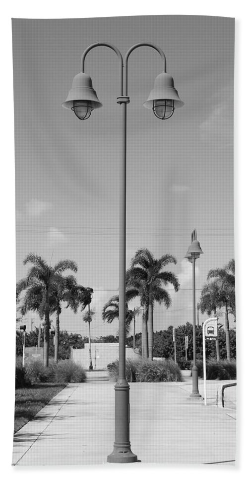 Black And White Bath Towel featuring the photograph Hanging Lamps by Rob Hans