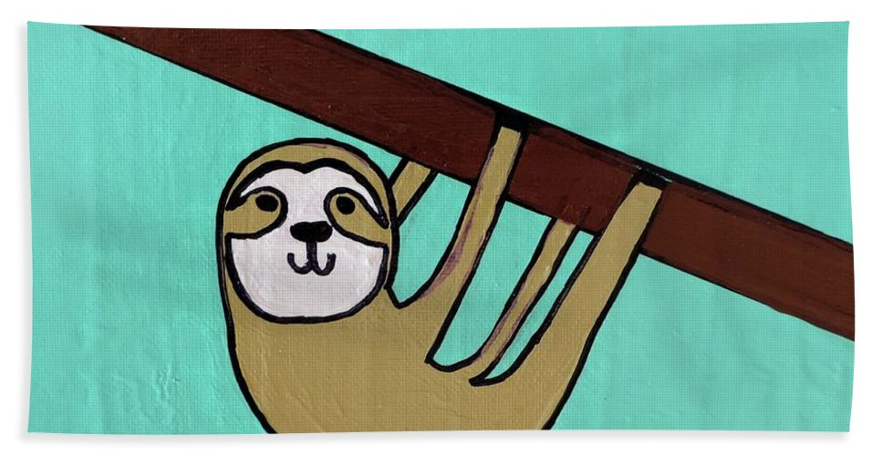 Sloth Hand Towel featuring the painting Hanging Out by Sean Brushingham