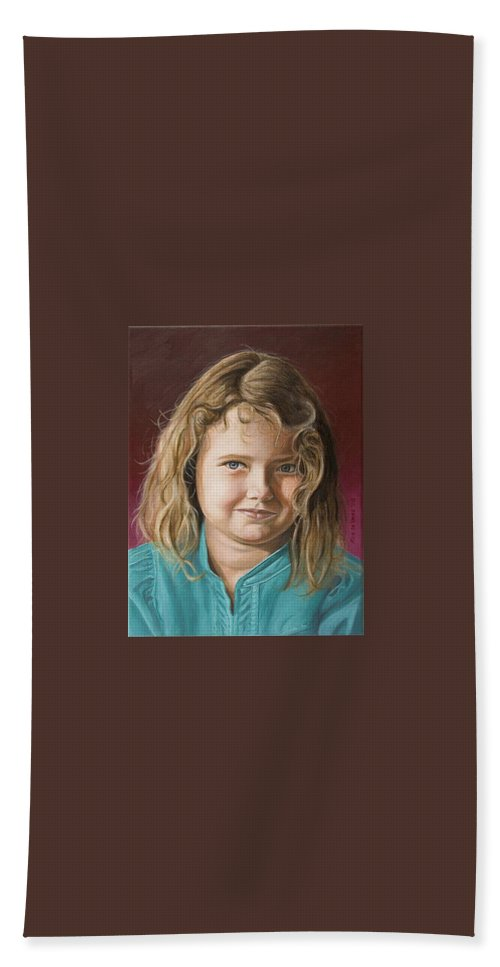 Portrait Bath Sheet featuring the painting Hanna by Rob De Vries