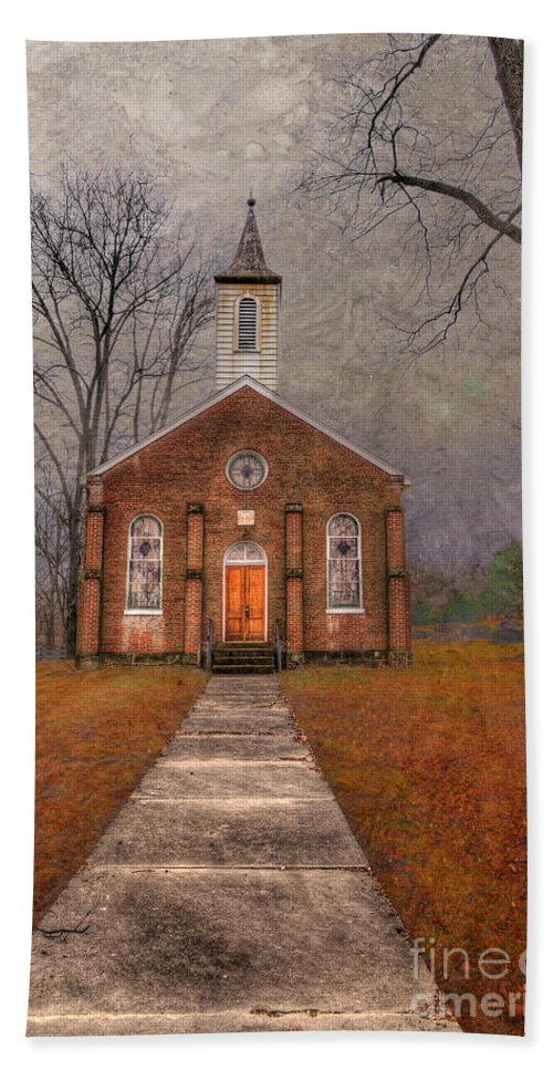 Travel Bath Towel featuring the photograph Hanover Luthern Chruch by Larry Braun